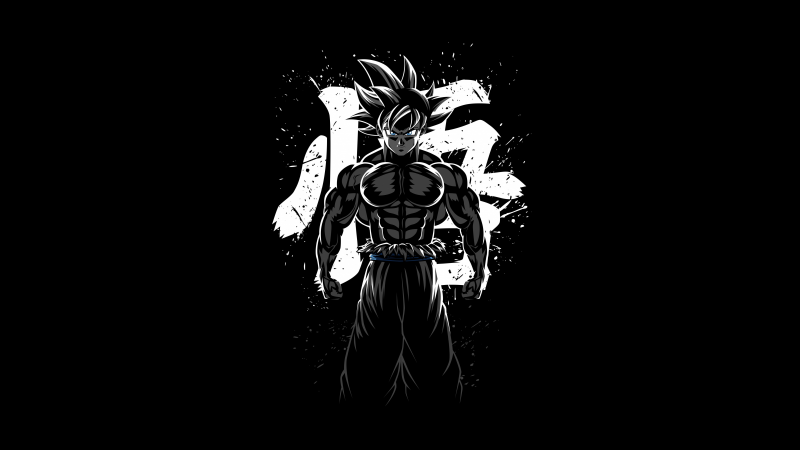 Goku Musculoso, Dragon Ball Z, AMOLED, Minimal, Black background, 5K, Wallpaper