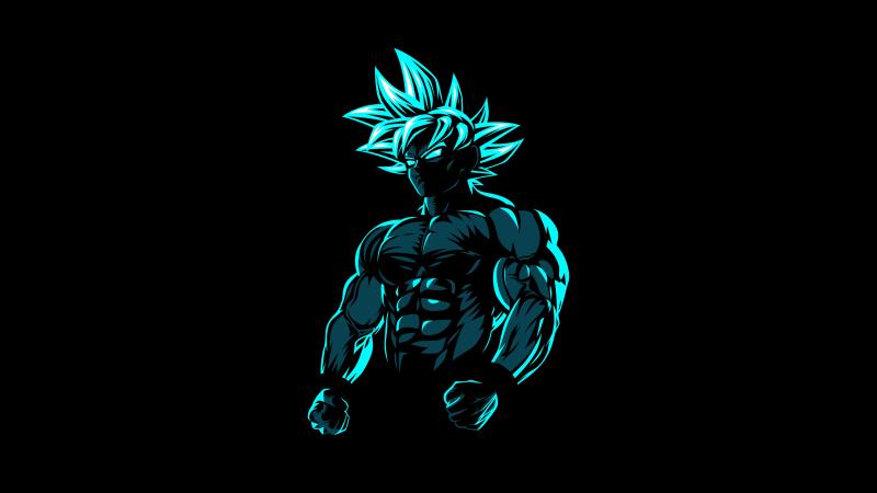 Goku, Beast Mode, AMOLED, Black background, Minimal, Wallpaper