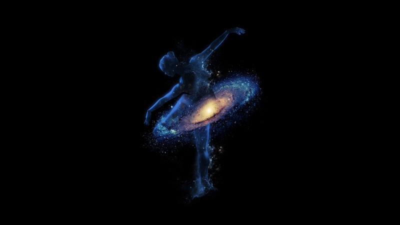 Galaxy, Dance, Girl, Dream, Space, Astronomical, Black background, Wallpaper