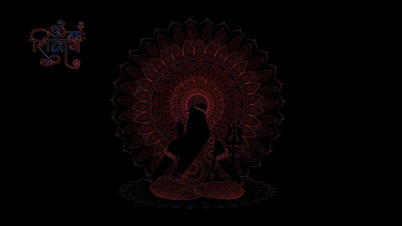 Lord Shiva, AMOLED, Black background, Illustration, Wallpaper