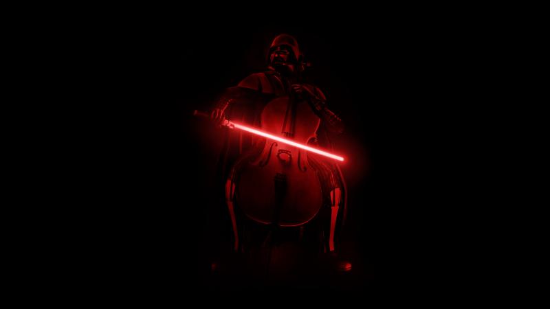Darth Vader, Violin, Lightsaber, AMOLED, Black background, Wallpaper
