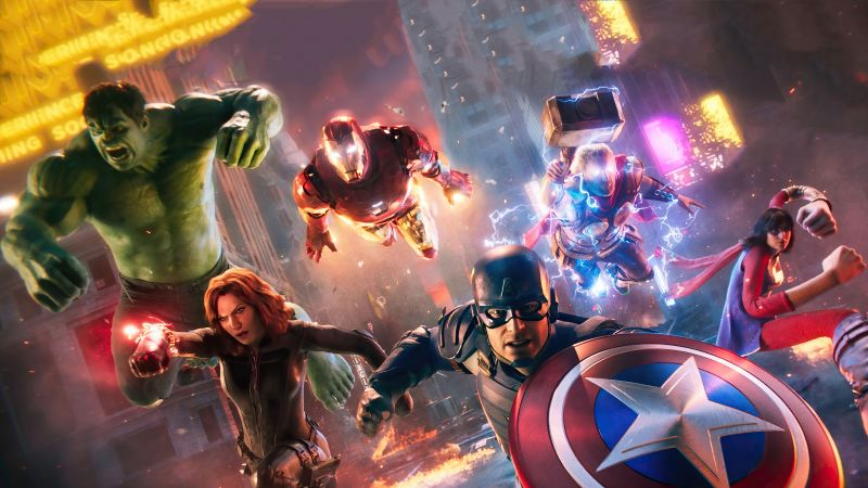 Marvel's Avengers, Marvel Superheroes, PlayStation 4, PlayStation 5, Xbox One, Xbox Series X and Series S, Google Stadia, PC Games, 2021 Games, Wallpaper