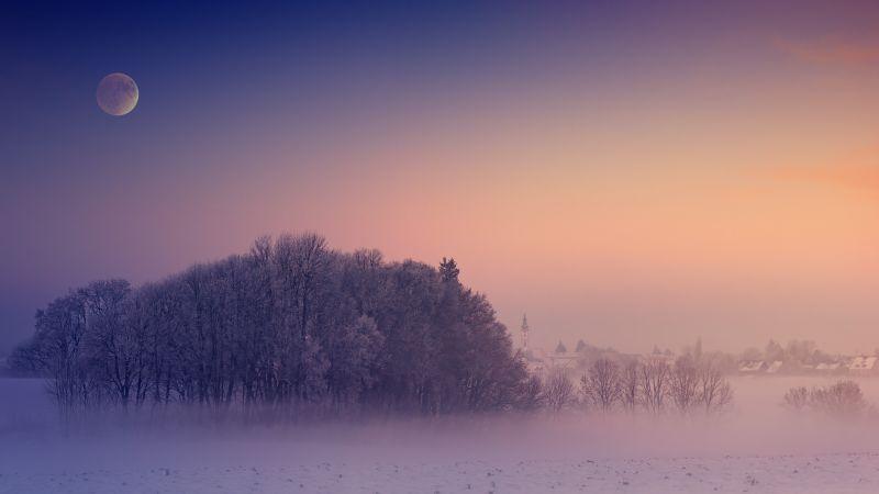 Winter, Aesthetic, Morning, Foggy, Moon, Landscape, Cold, 5K, Wallpaper
