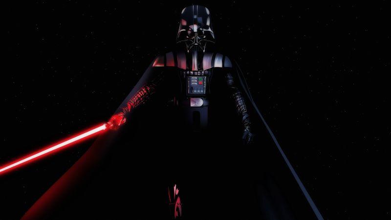 Darth Vader, Black background, Star Wars, Lightsaber, AMOLED, Wallpaper