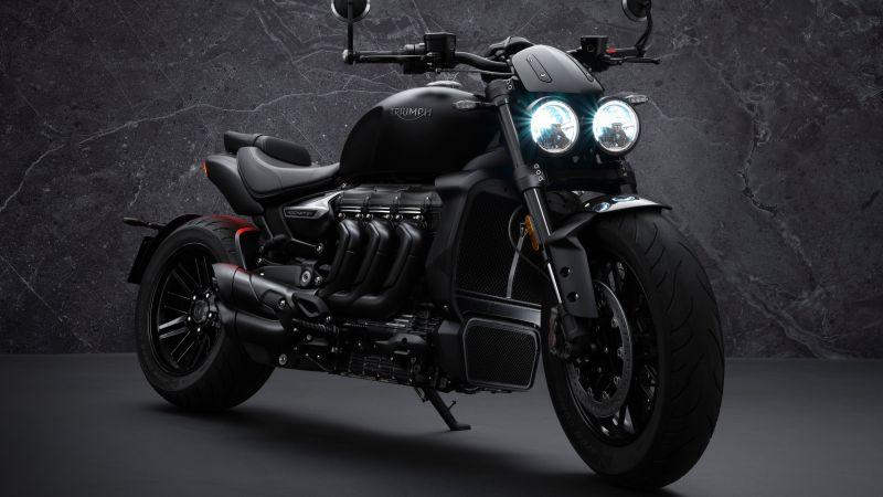 Triumph Rocket 3 R, Black Edition, 2021, 5K, Wallpaper