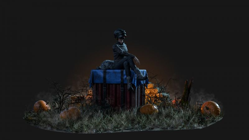 PUBG, Crate, Pumpkins, Dark background, Wallpaper
