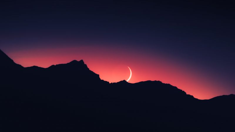 Sunset, Mountain silhouette, Crescent Moon, Night time, Landscape, 5K, Wallpaper