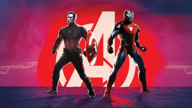 Avengers: Endgame, Captain America, Iron Man, Wallpaper