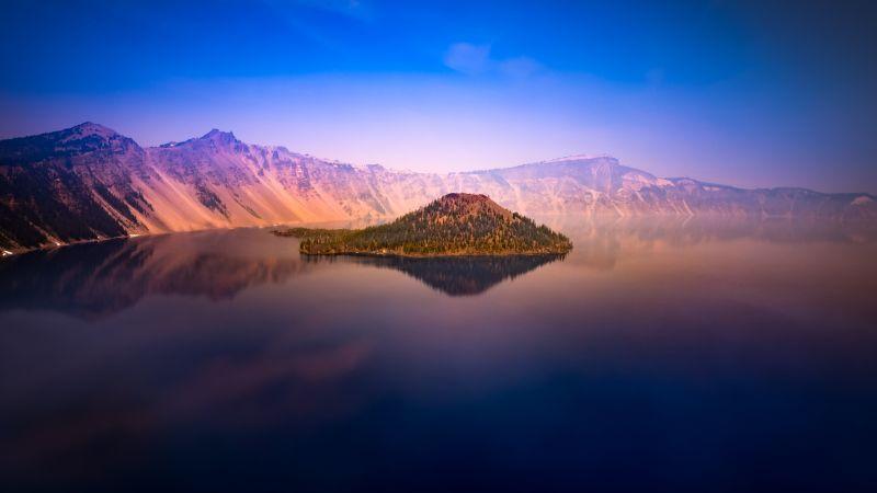 Crater Lake, Oregon, United States, Island, Body of Water, Dawn, Sunset, Blue Sky, Mountain range, Landscape, Scenery, Reflection, 5K, Wallpaper