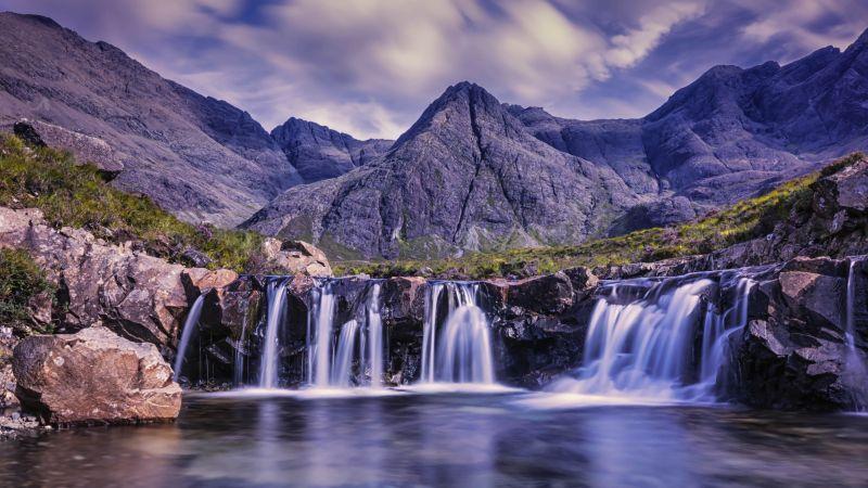 Waterfalls, Cloudy Sky, River Stream, Water flow, Long exposure, Mountains, Scenery, Landscape, 5K, Wallpaper