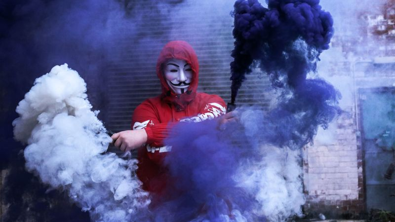 Man in Mask, Red Hoodie, Smoke can, Anonymous, Smoke Backgrounds, Purple, 5K, Wallpaper