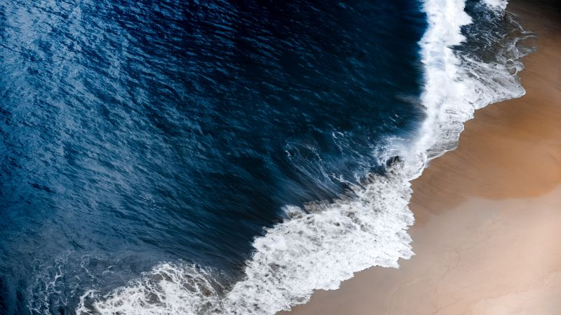 Seashore, Beach, Ocean Waves, Aerial view, Landscape, Coastal, 5K, Wallpaper