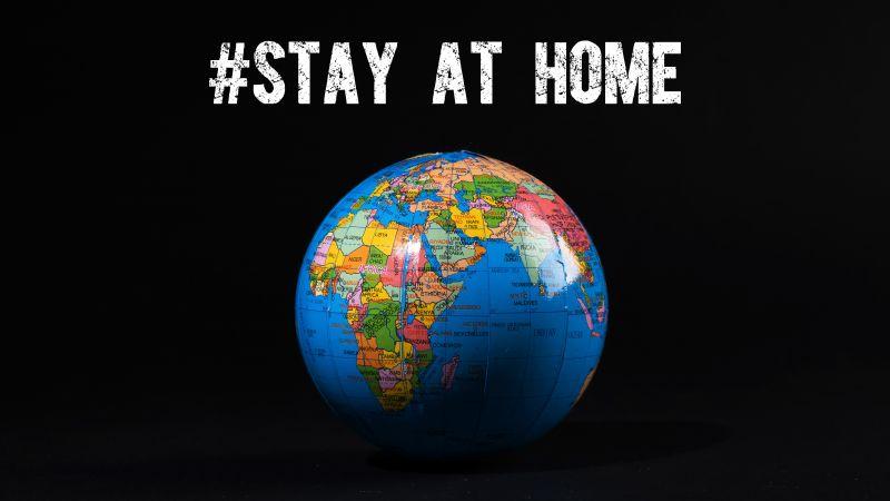 Stay Home, Stop COVID-19, Globe, Earth, Black background, 5K, Wallpaper
