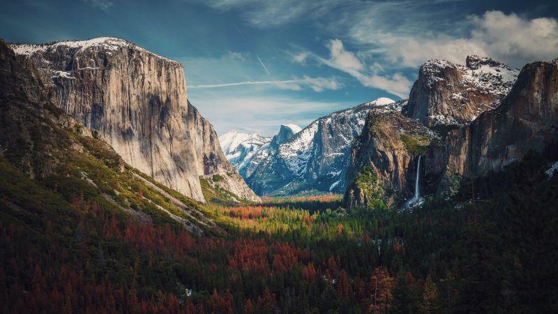 Yosemite Valley, Glacier mountains, Mountain range, Landscape, Scenery, 5K, 8K, Wallpaper