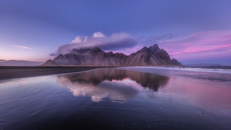 Vestrahorn mountain, Iceland, Sunset, Cloudy Sky, Body of Water, Reflection, Scenery, Landscape, 5K, Wallpaper