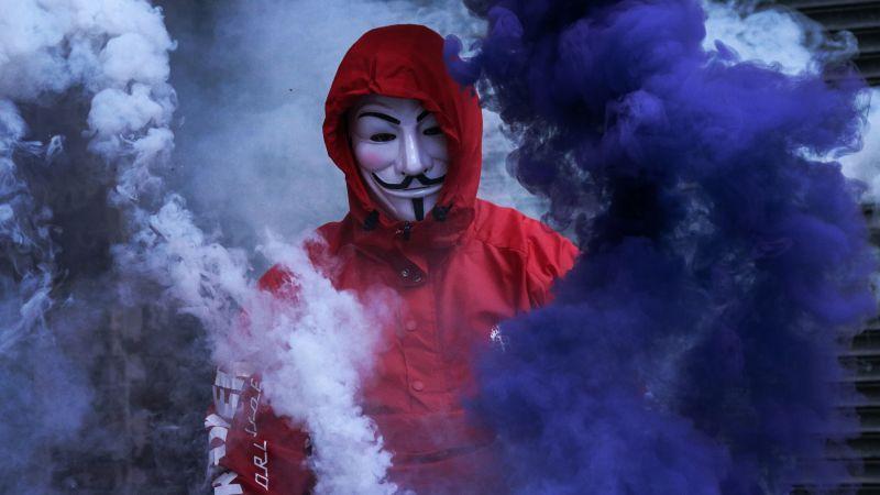 Man in Mask, Smoke Backgrounds, Purple Smoke, Red Jacket, Smoke Grenade, Anonymous, 5K, Wallpaper