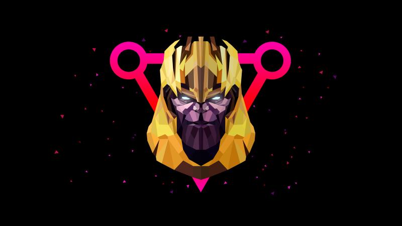 Thanos, AMOLED, Low poly, Artwork, Black background, Wallpaper
