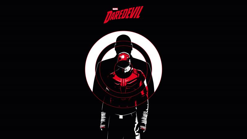 Daredevil, Marvel Comics, AMOLED, Black background, 5K, 8K, Wallpaper