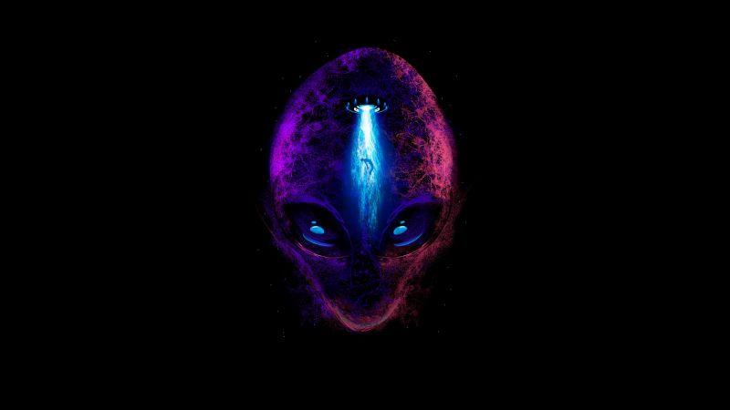 Alien, Extraterrestrial, Fantasy, AMOLED, Black background, 5K, Wallpaper