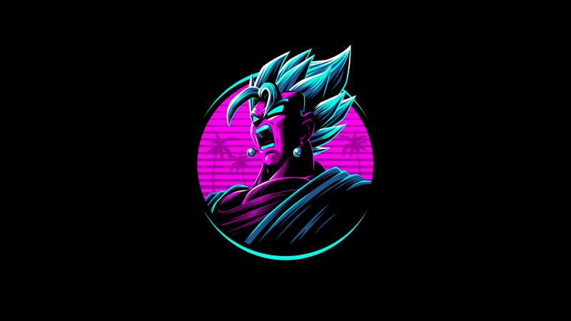 Vegito, Dragon Ball Z, Neon, AMOLED, Black background, 5K, Wallpaper