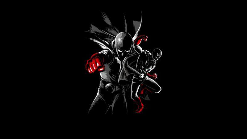 One Punch Man, Saitama, AMOLED, Black background, 5K, Wallpaper