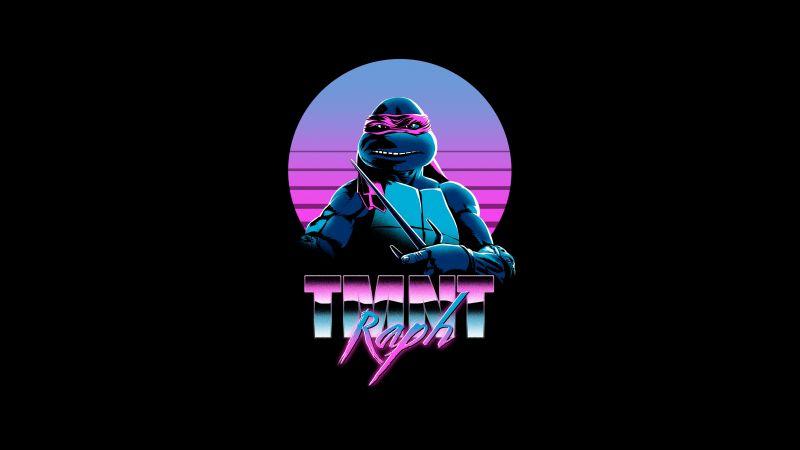 Raphael, TMNT, Teenage Mutant Ninja Turtles, AMOLED, Neon, Black background, 5K, Wallpaper