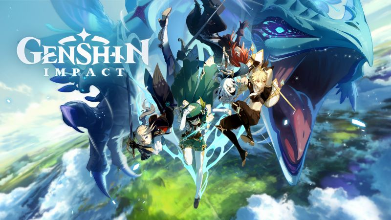 Genshin Impact, Aether, Diluc, Jean, Paimon, Venti, PC Games, PlayStation 4, Nintendo Switch, iOS, Android, Wallpaper