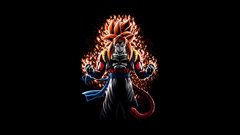 Goku, Super Saiyan 4 Fusion, SSJ4 Fusion, AMOLED, Black background, Dragon Ball, 5K, Wallpaper