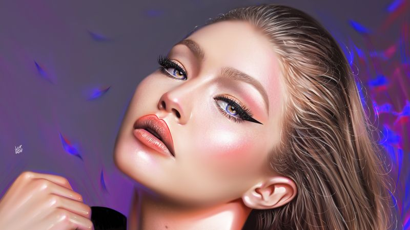 Gigi Hadid, American model, Portrait, Artwork, Paint, Vivid, Wallpaper