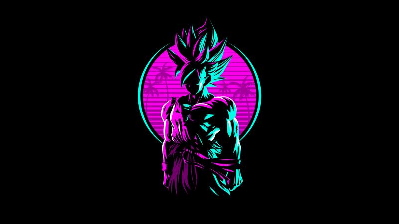 Goku, Dragon Ball, AMOLED, Retro, Artwork, Neon, Black background, 5K, Wallpaper