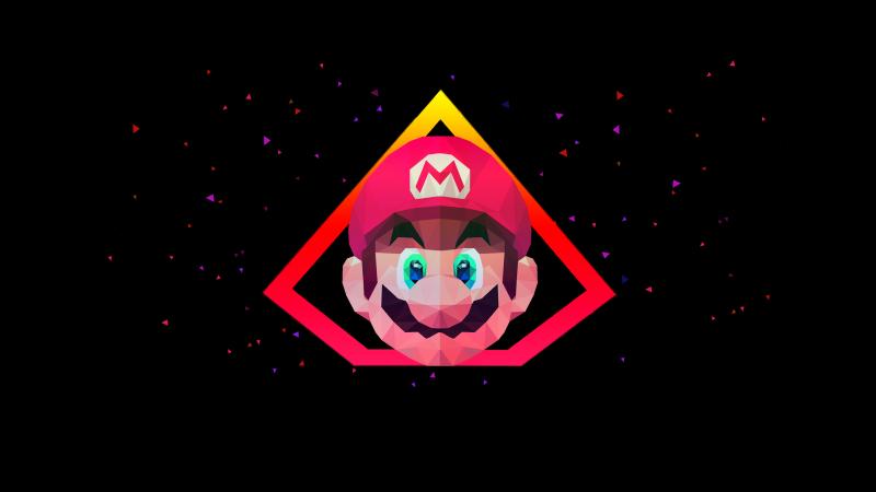 Super Mario, AMOLED, Low poly, Artwork, Black background, Wallpaper