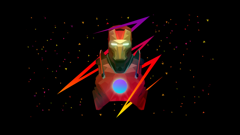 Iron Man, Marvel Superheroes, AMOLED, Low poly, Artwork, Black background, Wallpaper