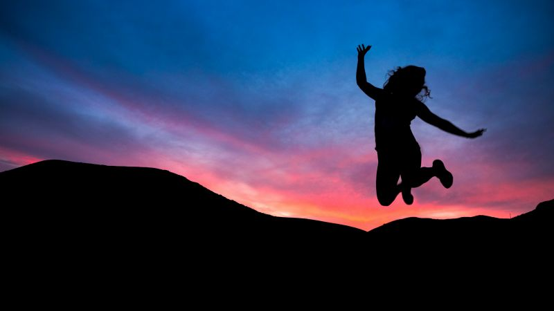 Person, Silhouette, Sunset, Jumping, Mood, Happy, Joy, Wallpaper