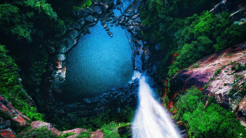 Waterfall, Forest, Aerial view, 5K, Wallpaper