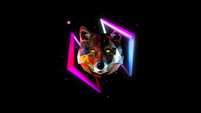 Wolf, Wild, Low poly, Artwork, AMOLED, Black background, Neon, Multicolor, Wallpaper