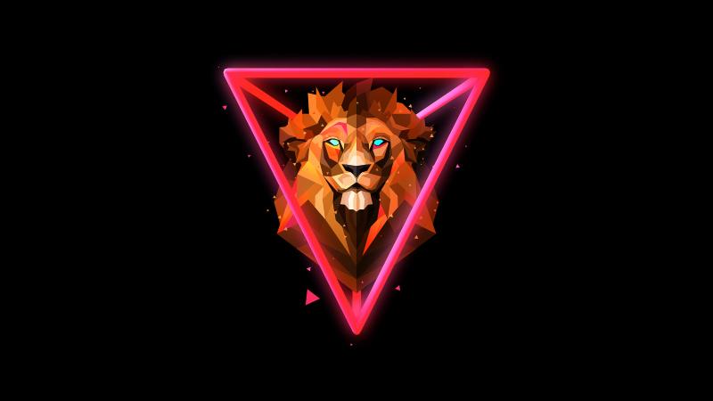 Lion, Wild, Low poly, Artwork, AMOLED, Black background, Neon, Wallpaper