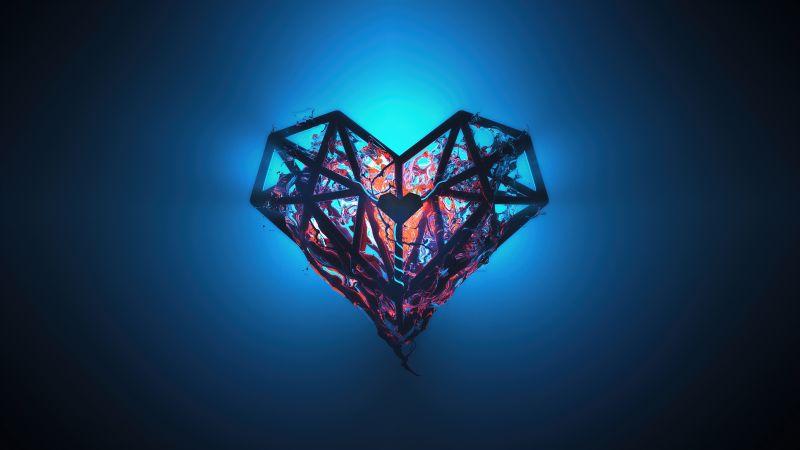 Heart, Low poly, Artwork, Glow, Blue background, Heartbeat, Wallpaper