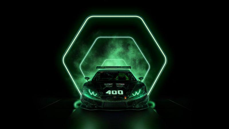 Lamborghini Huracán Squadra Corse, Dark background, AMOLED, 2021, Wallpaper