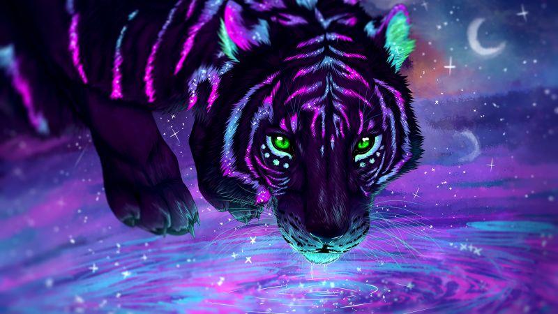 Tiger, Neon, Digital paint, Glowing, Wallpaper