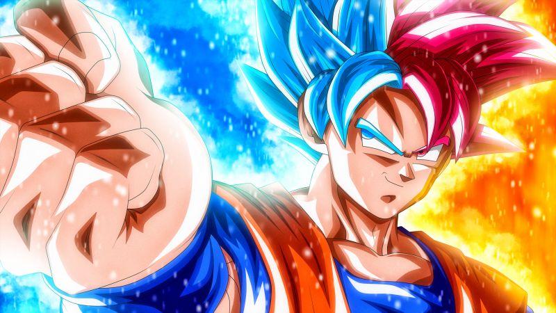 Goku, Super Saiyan Blue, Super Saiyan God, Dragon Ball Super, 5K, Wallpaper