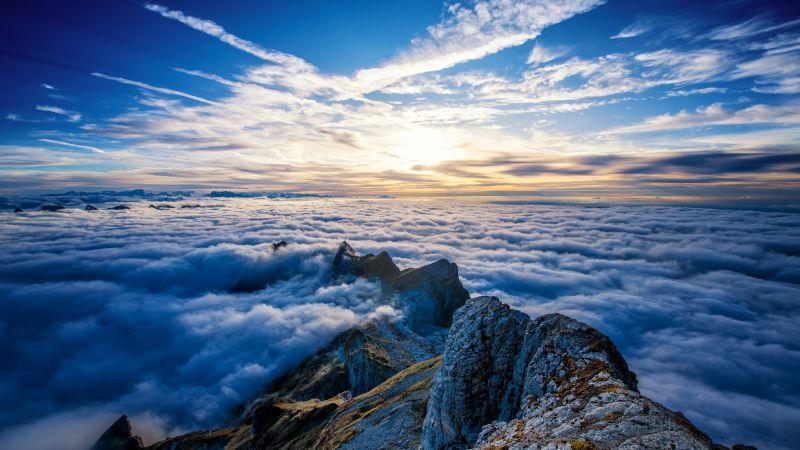 Santis, Highest mountain, Summit, Swis Alps, Panorama, Switzerland, Wallpaper