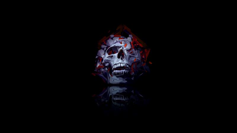 Skull, Low poly, Artwork, AMOLED, Black background, Wallpaper