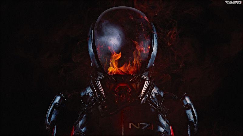 Mass Effect: Andromeda, N7 Armor, Fire, Wallpaper