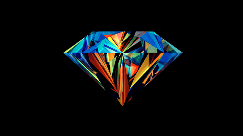 Diamond, Low poly, Colorful, Artwork, AMOLED, Black background, Wallpaper