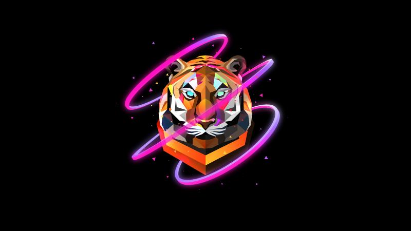 Tiger, Low poly, Artwork, AMOLED, Black background, Neon, Wallpaper