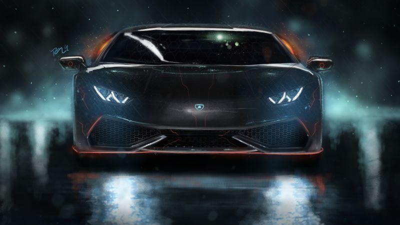 Lamborghini Huracan, Neon, Custom tuning, Digital Art, Wallpaper