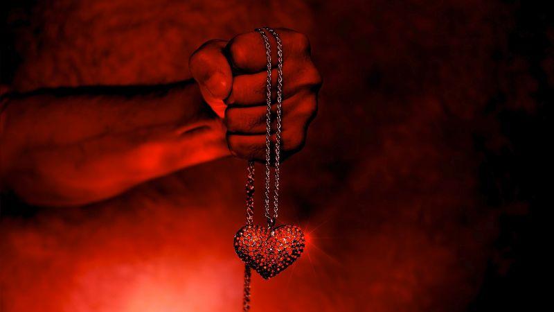 Love heart, Necklace, Hand, Fire, Wallpaper