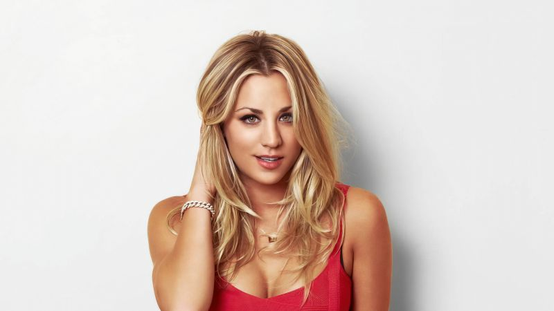 Kaley Cuoco, American actress, White background, 5K, Wallpaper