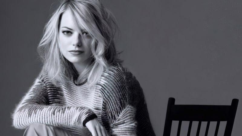 Emma Stone, American actress, Monochrome, Beautiful actress, 5K, Wallpaper