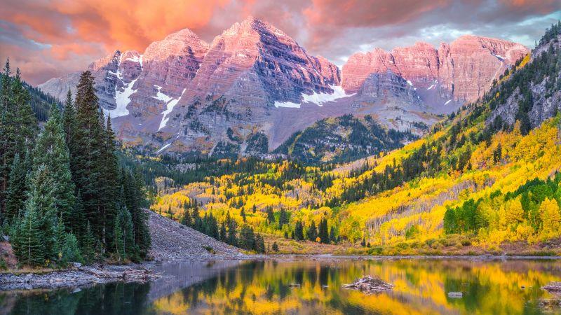 Maroon Bells, Lake, Peaks, Elk Mountains, North Maroon Peak, Scenic, Daytime, Scenery, 5K, 8K, Wallpaper